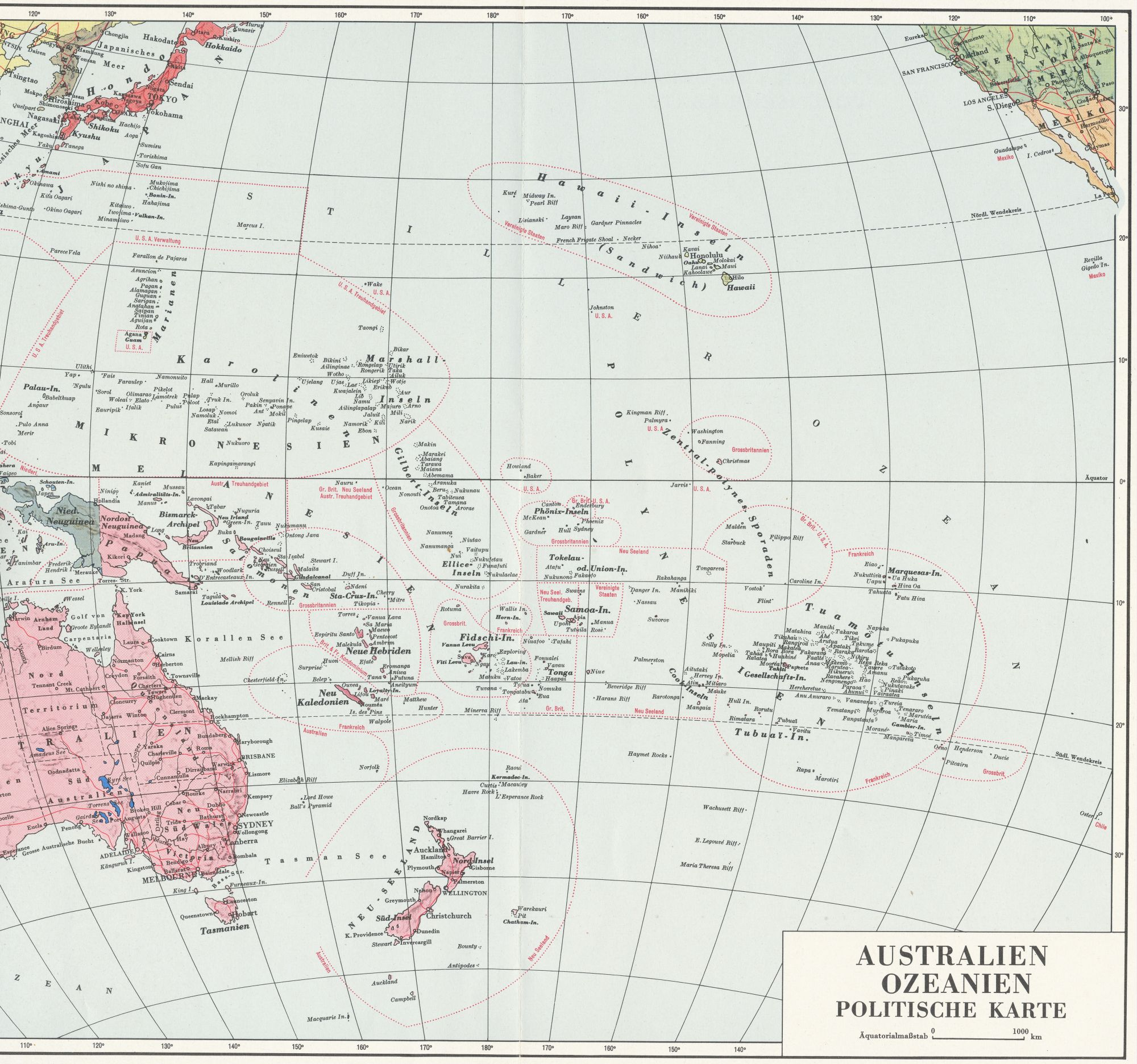 Map Pacific Islands Of Oceania
